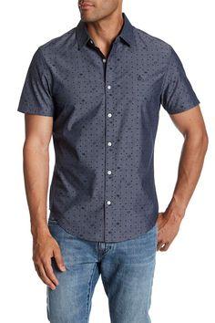 Radio Waves Printed Slim Fit Short Sleeve Shirt