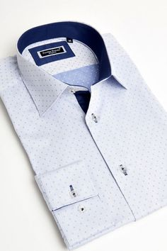 Light blue dress shirt with small dots by Franck Michel