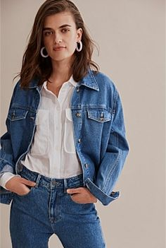 Denim & Jeans Slouch Jeans, Straight Cut Jeans, Summer Denim, Denim Branding, V Neck Blouse, Cotton Style, Denim Jeans, Mini Skirts, Clothes For Women