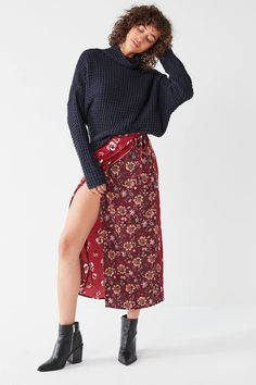 BOG Collective Poppy Wrap Midi Skirt | Urban Outfitters