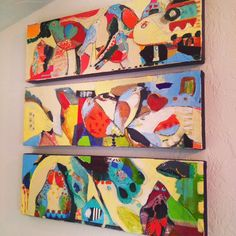 Bird Triptych. Acrylic, house paint and collage by Niya Christine.