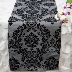 Shop for Flocked Taffeta and Velvet Table Runners Damask Black Silver Get free delivery On EVERYTHING* Overstock - Your Online Kitchen & Dining Store! Top 10 Christmas Gifts, Thoughtful Christmas Gifts, Silver Wedding Decorations, Silver Table, Burlap Table Runners, Event Themes, Simple Colors, Season Colors