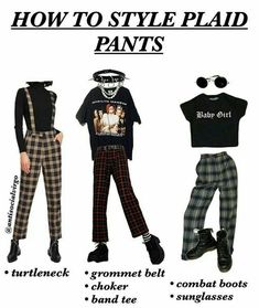 Plaid pants are basically the edgier version of Momy Jeans from Artsy Gir . - Plaid pants are basically the edgier version of Momy Jeans from Artsy Girl – - Diy Outfits, Hipster Outfits, Retro Outfits, Grunge Outfits, Vintage Outfits, Casual Outfits, Artsy Outfits, Hipster Clothing, Band Outfits