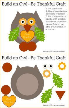 Be Thankful Owl Craft FREE Printable