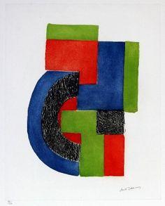 """Delaunay Sonia """"Senza titolo - I """" (1972) acquaforte e acquatinta cm. 50 x 39,5"""