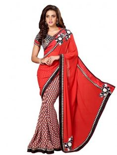 Red and White Georgette Printed Saree