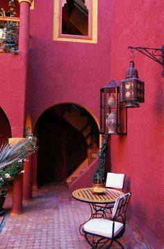Patio furniture and lamp, Moroccan style.