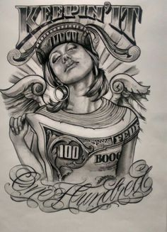 dollar impression on girl art Chicano Art Tattoos, Chicano Drawings, Gangster Tattoos, Tatuajes Tattoos, Tattoo Drawings, Body Art Tattoos, Sleeve Tattoos, Tattoo Sketches, Art Drawings