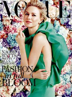 Naomi Watts in a ruffled Gucci dress covers #Vogue #Australia Feb 2013 Fashion in Full Bloom issue
