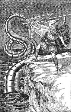 Thor fighting the Serpent