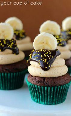 Chocolate Banana Peanut Butter Cupcakes