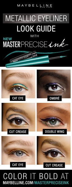 Master Precise Ink Metallic Liquid Liner. Long lasting, waterproof eyeliner with a smart-tip brush. The bold and reflective finish delivers brilliant metallic definition. From Solar Gold and Cosmic Purple to Black Comet and Galactic Metal, ink your eyes in high-impact color with up to 24-hour metallic intensity. This metallic liquid eyeliner is smudge-proof and waterproof. Click to shop the collection!