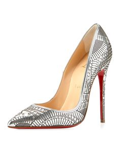 Christian Louboutin Kristali Laser-Cut Leather Red Sole Pump | Buy ➜ http://shoespost.com/christian-louboutin-kristali-laser-cut-leather-red-sole-pump/