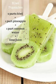 Homemade Kiwi Popsicles - no added sugar! More