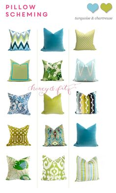 Etsy WestEndAccent's Christopher Farr Carnival, Schumacher Velvet Imperial Trellis and Clarence House Congo Blues pillows.   Pillow Scheming:  Turquoise and Chartreuse http://honeyandfitz.com/2014/05/21/pillow-scheming-turquoise-and-chartreuse/