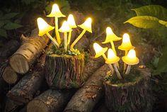 Mushrooms Night Light Mashroom lamp Polymer Clay Fungi