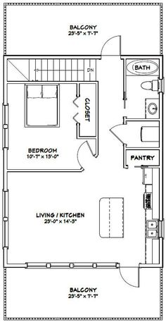 Details about House -- 1 Bedroom Bath -- 851 sq ft -- PDF Floor Plan -- Model Picture 3 of 6 The Plan, How To Plan, Small House Floor Plans, Cabin Floor Plans, Floor Plan With Loft, Garage Apartment Plans, Garage Plans, Garage Apartments, Car Garage