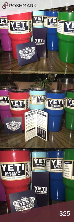 30 & 20 oz YETI Rambler Tumblers Yeti Rambler 20 or 30 oz color choices - blue, light blue, dark blue, Light Green, green, Silver.  ASK FOR YOUR COLOR AVAILABILITY HERE & ❤️💛💚💙💜I will create a listing for your Tumbler. 4/1/2017 COLORS SOON TO ARRIVE: Metallic colors, camouflage pink, Tiffany Blue, pink, Metallic Pink. Ask for your listing! yeti Other