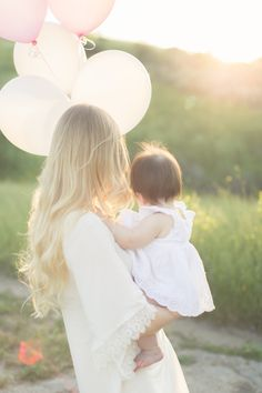 First Birthday, First Birthday Photoshoot, Photoshoot Ideas, Family, Mother and Daughter, Balloons, Outdoors, White Lace Dress, Kids Fashion, Hair, Natural Lighting, Photography, Blonde, Loose Curls
