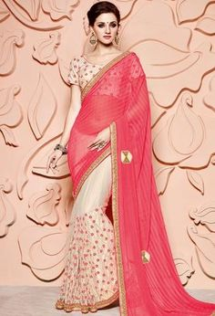 Cream With Pink Net & Chiffon Partywear Sarees ,Indian Dresses - 1