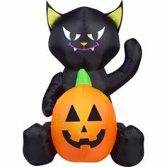 Inflatable Black Cat With Pumpkin 4' X 3' Halloween Outdoor Decor Yard Lawn New #Gemmy