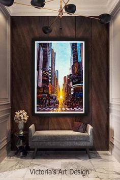 Oil Painting, Original Oil Painting Manhattan New York City Times Square Landscape Modern Large Art by artist Victoria Stepanovska Oil Painting Trees, Oil Painting Abstract, Abstract Trees, Step By Step Painting, City Landscape, Modern Artwork, City Art, Large Art, Original Paintings