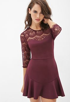 Lace-Paneled Fluted Dress | Forever21 | in Large