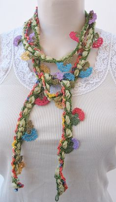 Oya necklace Crochet Flower Scarf, Floral Scarf, Crochet Flowers, Scarf Jewelry, Fabric Jewelry, Boho Jewelry, Jewellery, Crochet Chain, Easy Crochet