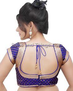 Royal Blue Brocade Party Wear Readymade Sari Blouse X-81 SL