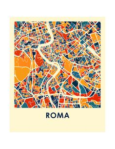 Roma Map Print Full Color Map Poster by iLikeMaps on Etsy Maps Design, Design Design, Dublin Map, Urban Mapping, Rome Map, Ireland Map, Galway Ireland, Ireland Travel, Architecture Mapping