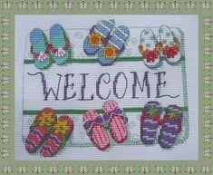 flip flop cross stitch patterns free | welcome mat - flip flops