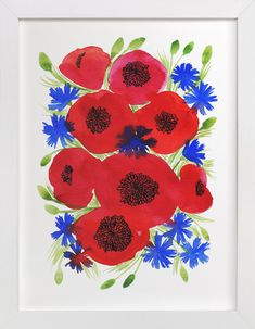 Wild watercolor flowers by Alexandra Dzh at minted.com
