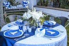 something blue bridal shower tablescape for spring