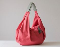 Kallia - Shoulder bag in pink cotton canvas and grey leather