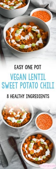 This vegan lentil sweet potato chili is hearty satisfying and made in one pot with just 9 healthy ingredients. This vegan lentil sweet potato chili is hearty satisfying and made in one pot with just 9 healthy ingredients. Clean Dinner Recipes, Easy Vegan Dinner, Clean Eating Dinner, Healthy Chili, Vegan Chili, Whole Food Recipes, Vegan Recipes, Free Recipes, Vegan Desserts