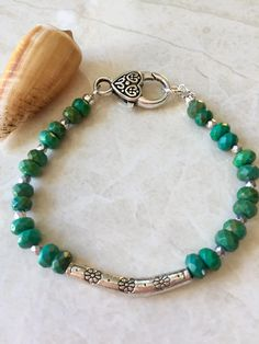 Green turquoise faceted bead bracelet