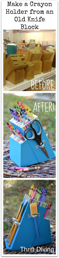 Cómo hacer un porta útiles de manualidades con un taco de cuchillos de cocina - Make a Crayon Holder from an Old Knife Block. Thrift Diving Collage