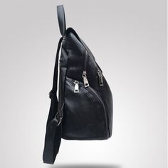 Women Black PU Leather Solid Flap Zipper and Hasp Bag Travel Backpack