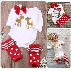Baby first christmas #outfit boy #girls bodysuits #ruffle leg warmers clothes set, View more on the LINK: http://www.zeppy.io/product/gb/2/112079048419/