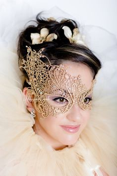 Mascarade masque dentelle d'or masque Mardi Gras masques