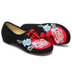 Sale 22% (20.99$) - US Size 5-10 Embroidery Floral Women Casual Lace Up Flat Shoes