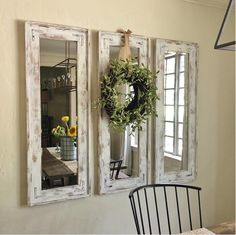 I bought 3 cheap frameless mirrors from Home Depot, glued them to plywoo. I bought 3 cheap frameless mirrors from Home Depot, glued them to plywoo.Home Wall Ideas Farmhouse Kitchen Decor, Rustic Farmhouse, Farmhouse Design, Farmhouse Ideas, Fresh Farmhouse, Farm House Kitchen Ideas, Country Chic Kitchen, Farmhouse Dining Room Table, Dining Table
