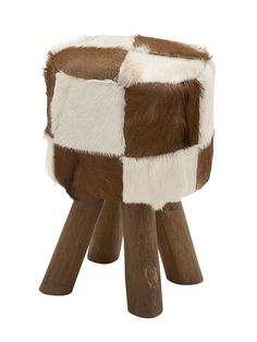 Cool Wood Round Brown Goat Foot Stool