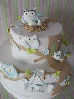 baby shower cakes for a boy WITH OWLS | owl cake | Flickr - Photo Sharing! by hester