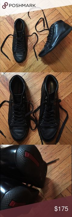 Men's Prada leather high top sneakers!! Soft black leather Prada high top sneakers. Size 8.5 used a handful of times in very good conditions. Please message with any questions :-) Prada Shoes Sneakers
