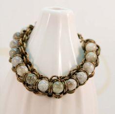 Bracelet Chainmaille Gemstone Large Green Brass by JewelrybyChar, $50.00