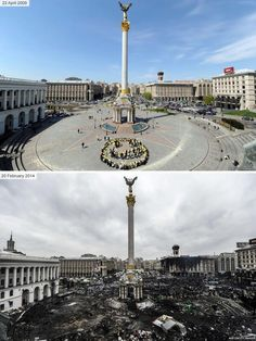 #Euromaidan Kiev, Ukraine. So sad how the riots caused so much damage to a beautiful place