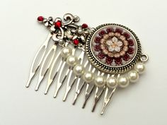 Elegant hair comb in silver red with shell pearls Antique Hair Accessories - pinned by pin4etsy.com