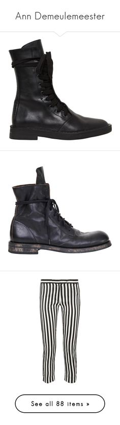 """Ann Demeulemeester"" by stacy-hardy ❤ liked on Polyvore featuring shoes, boots, black, black leather boots, leather combat boots, leather lace up boots, lace up combat boots, black low heel boots, men and lacing boots"