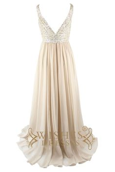 Prom will be a night to remember in this over-the-top beaded gown!Sleeveless bodice features sequins lace accents and an eye-catching deep plunge V-neckline.Ful